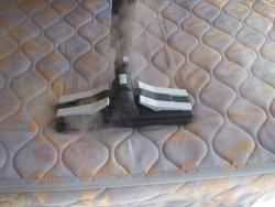 Steam and vacuum used in mattress cleaning